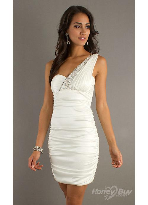 Handmand One Shoulder Beading Plearing Short Satin White Cocktail Dress For Sale 1