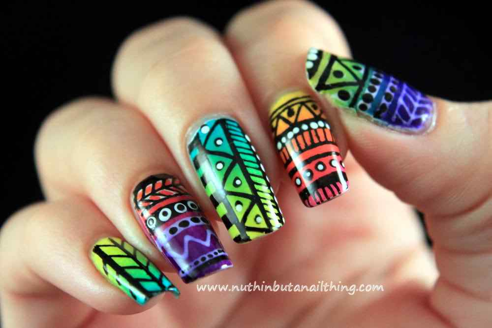 Easy Tribal Nail Art Designs and Ideas004 - Life n Fashion